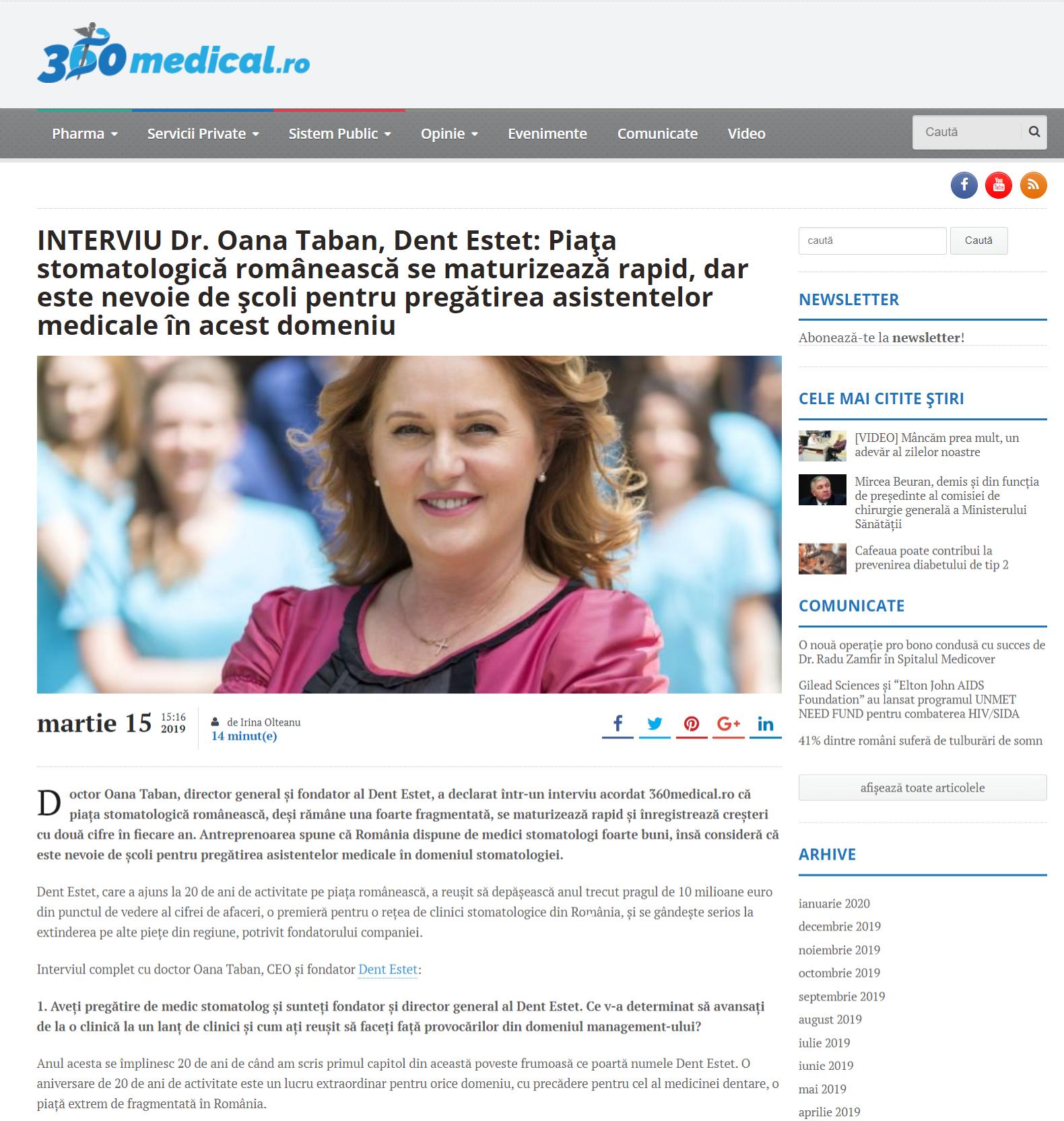 INTERVIU Dr. Oana Taban, Dent Estet: Piața stomatologică românească se maturizează rapid, dar este nevoie de școli pentru pregătirea asistentelor medicale în acest domeniu