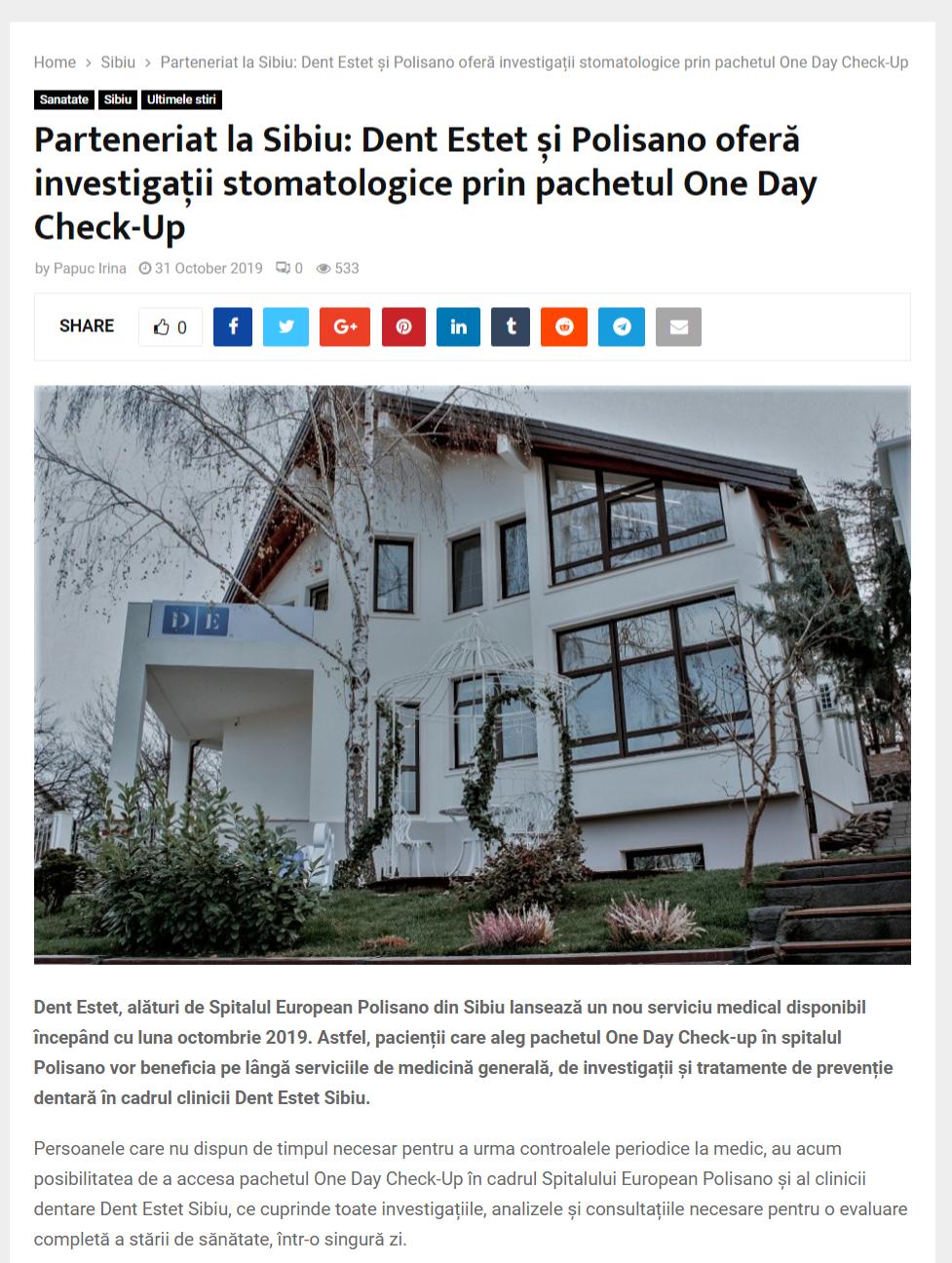 Parteneriat la Sibiu: Dent Estet și Polisano oferă investigații stomatologice prin pachetul One Day Check-Up