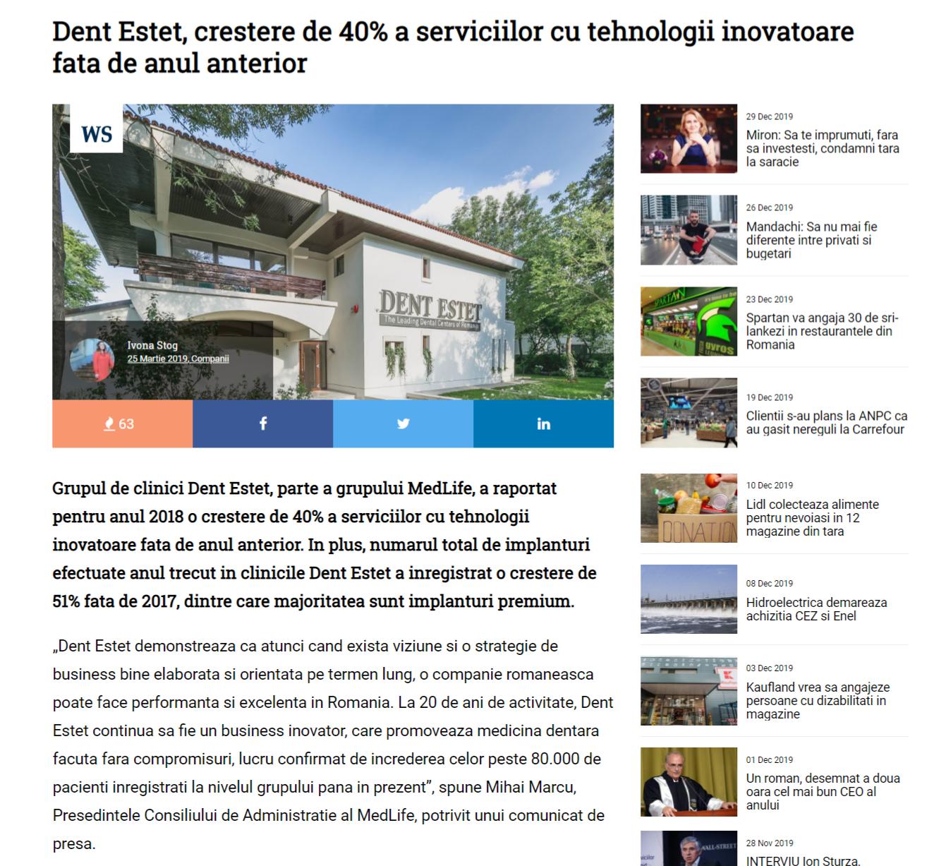 Dent Estet, crestere de 40% a serviciilor cu tehnologii inovatoare fata de anul anterior