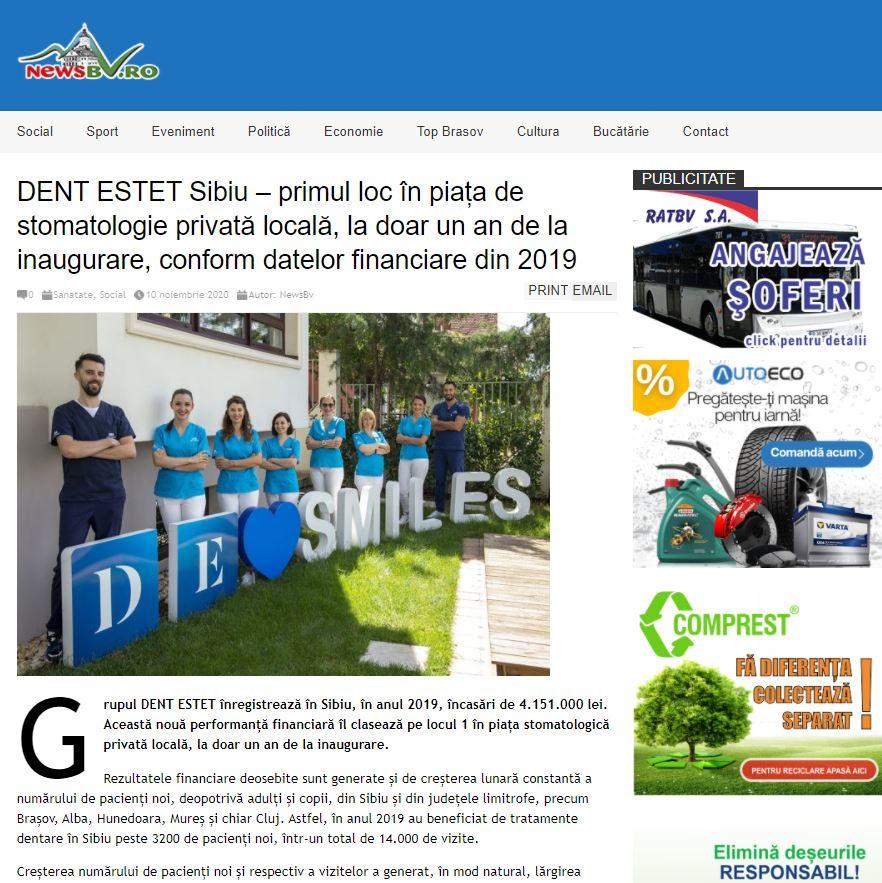 DENT ESTET Sibiu – primul loc în piața de stomatologie privată locală, la doar un an de la inaugurare, conform datelor financiare din 2019