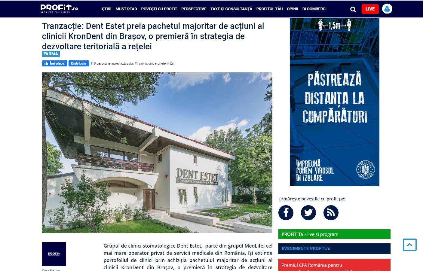 Tranzacție: Dent Estet preia pachetul majoritar de acțiuni al clinicii KronDent din Brașov, o premieră în strategia de dezvoltare teritorială a rețelei